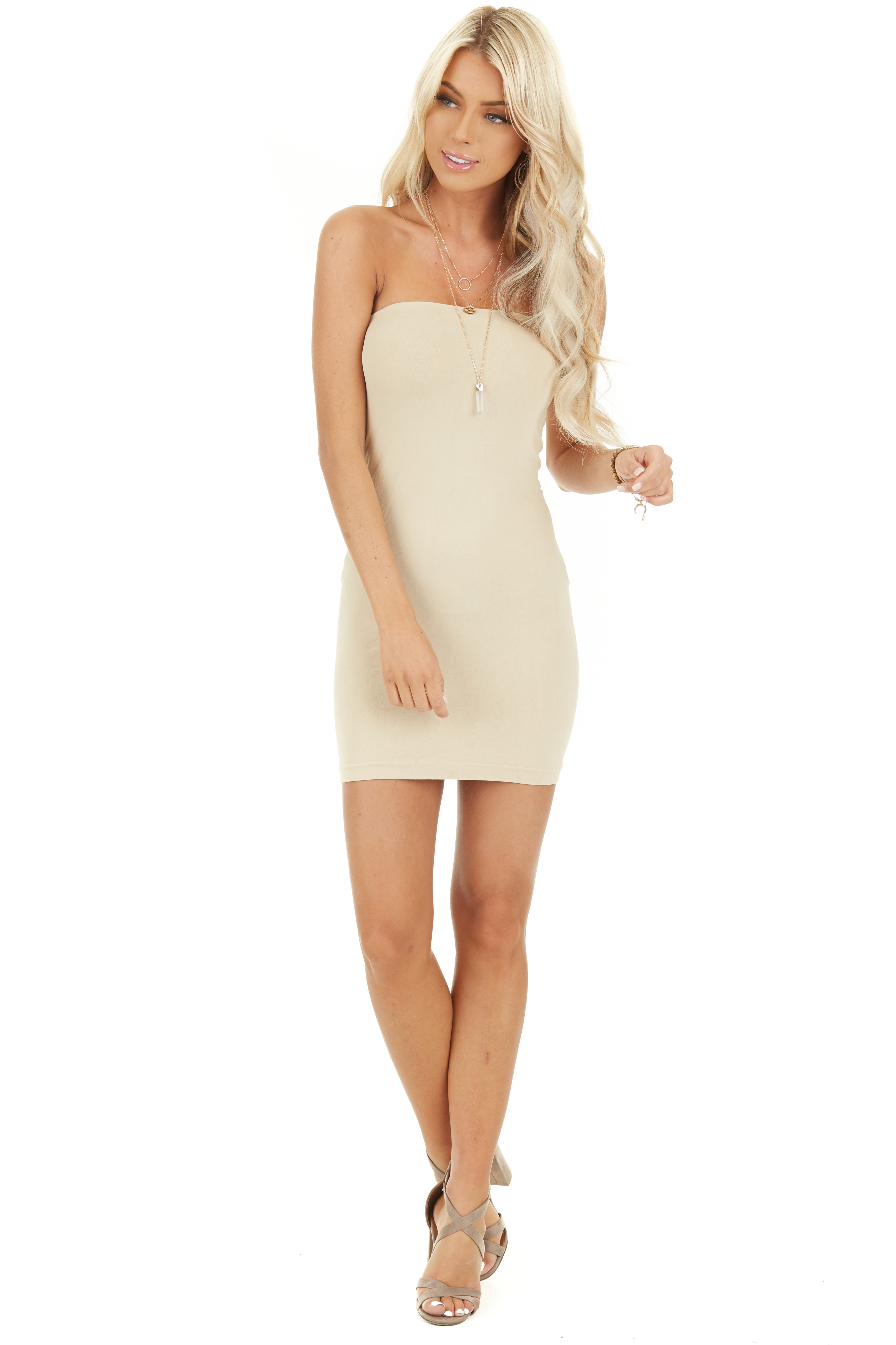 Stone Seamless Tube Dress Undergarment front full body