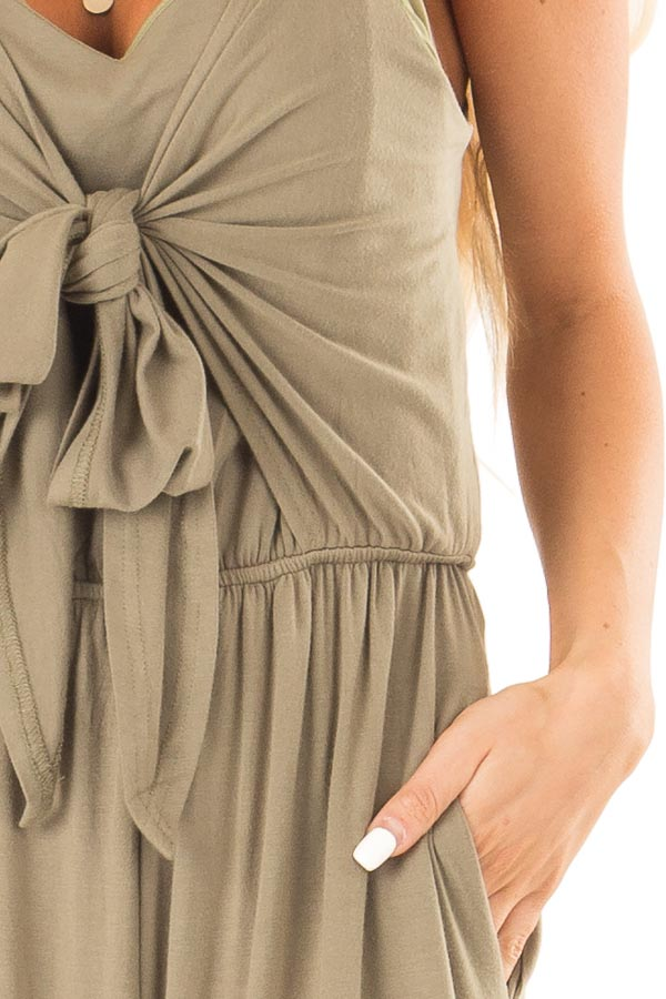 Olive Sleeveless Jumpsuit with Bust Tie Detail detail