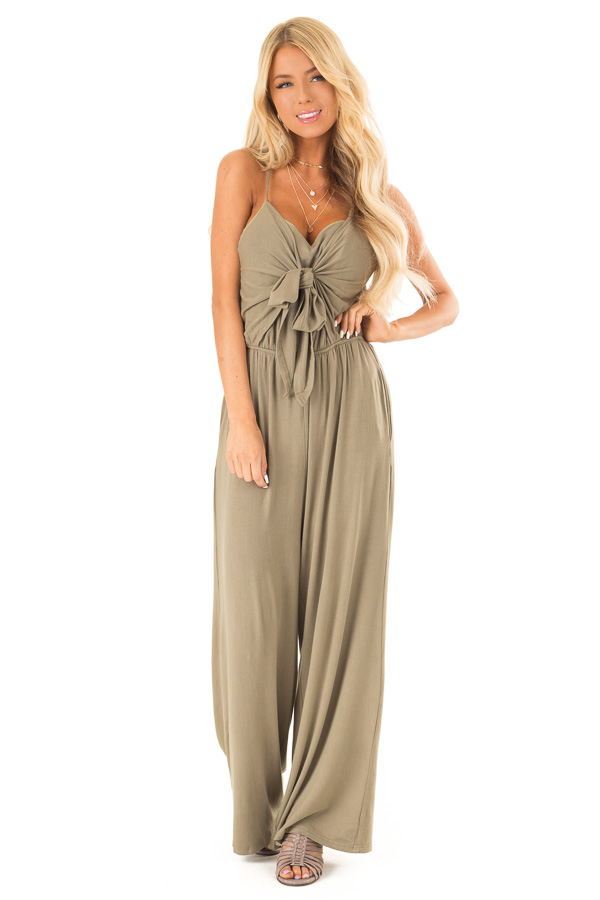 Olive Sleeveless Jumpsuit with Bust Tie Detail front full body