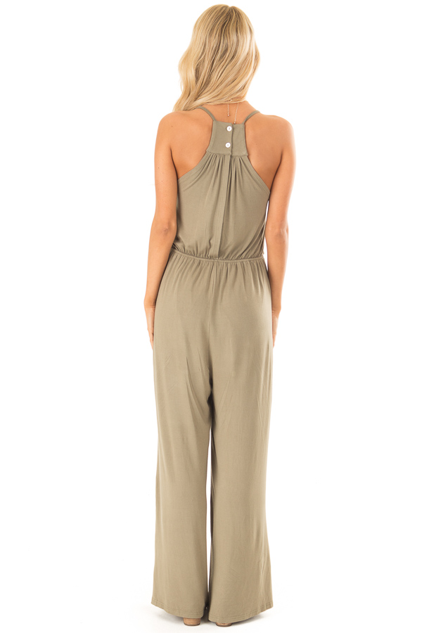 Olive Sleeveless Jumpsuit with Bust Tie Detail back full body