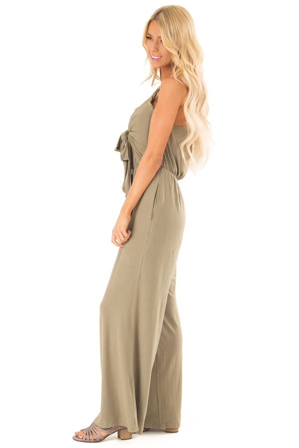 Olive Sleeveless Jumpsuit with Bust Tie Detail side full body