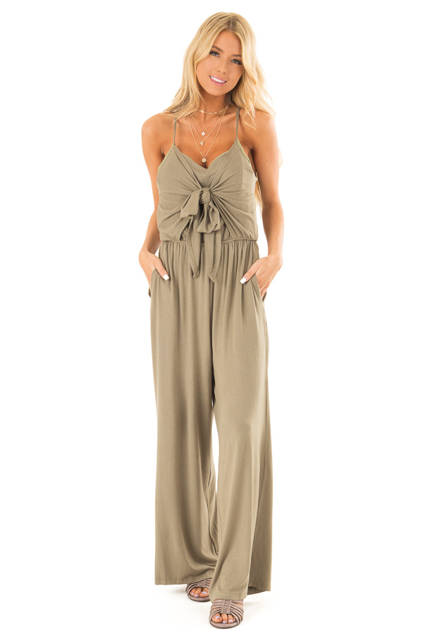 Olive Sleeveless Jumpsuit with Bust Tie Detail front close up