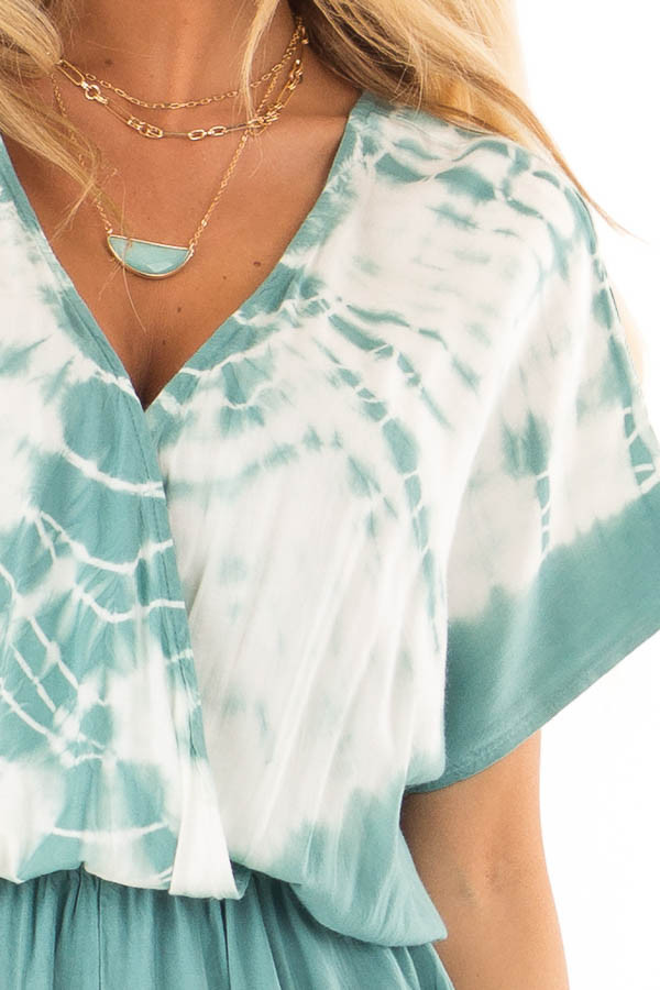 Teal and White Tie Dye Surplice Dropped Shoulder Romper detail
