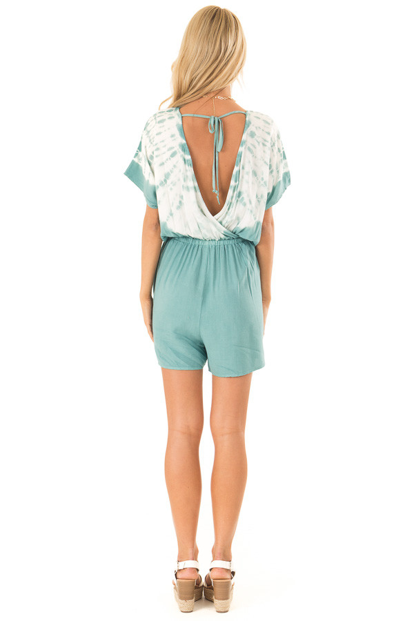 Teal and White Tie Dye Surplice Dropped Shoulder Romper back full body