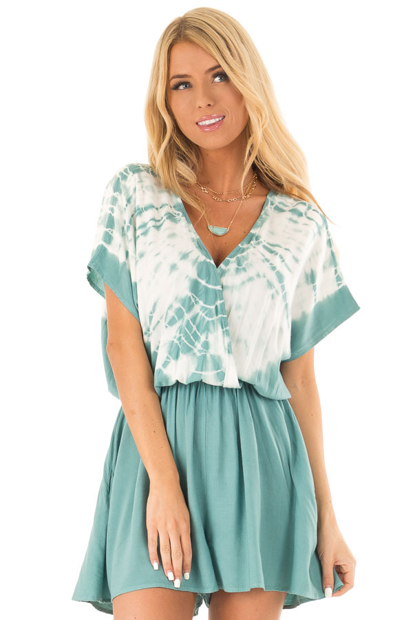 Teal and White Tie Dye Surplice Dropped Shoulder Romper front close up