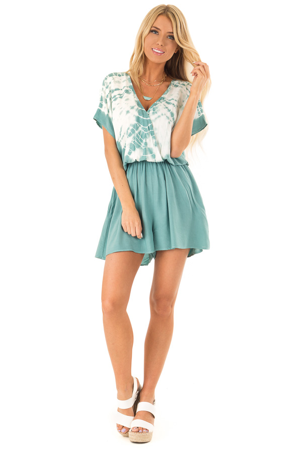 Teal and White Tie Dye Surplice Dropped Shoulder Romper front full body