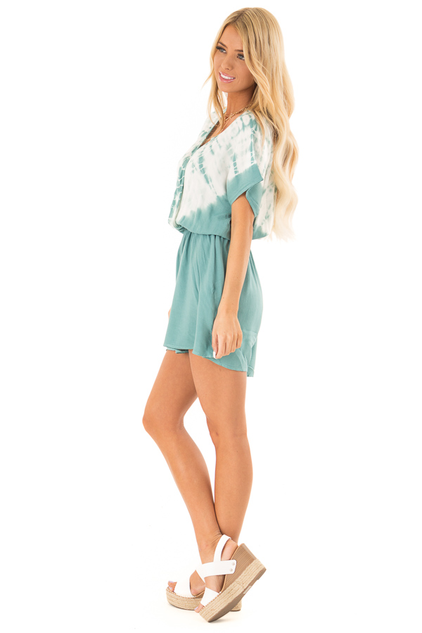 Teal and White Tie Dye Surplice Dropped Shoulder Romper side full body