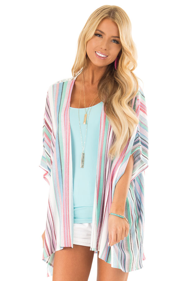 Mint and Hot Pink Striped Open Front Kimono with Lace Detail front close up
