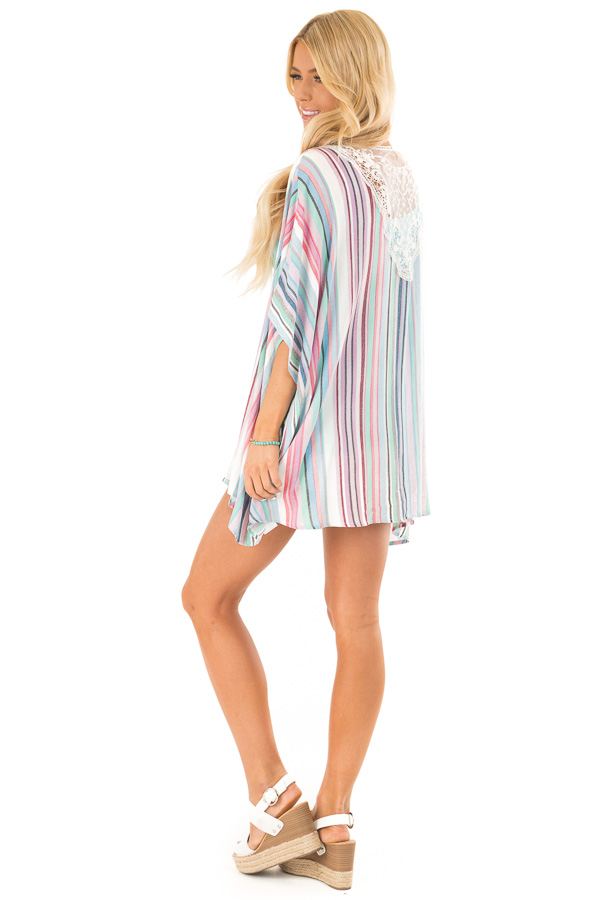 Mint and Hot Pink Striped Open Front Kimono with Lace Detail side full body