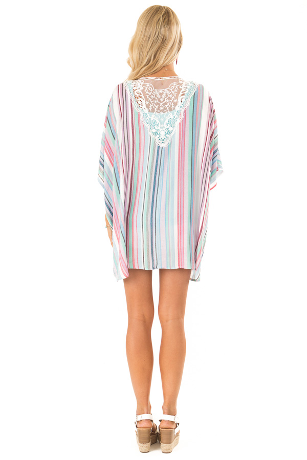 Mint and Hot Pink Striped Open Front Kimono with Lace Detail back full body