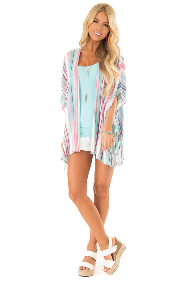 Mint and Hot Pink Striped Open Front Kimono with Lace Detail front full body