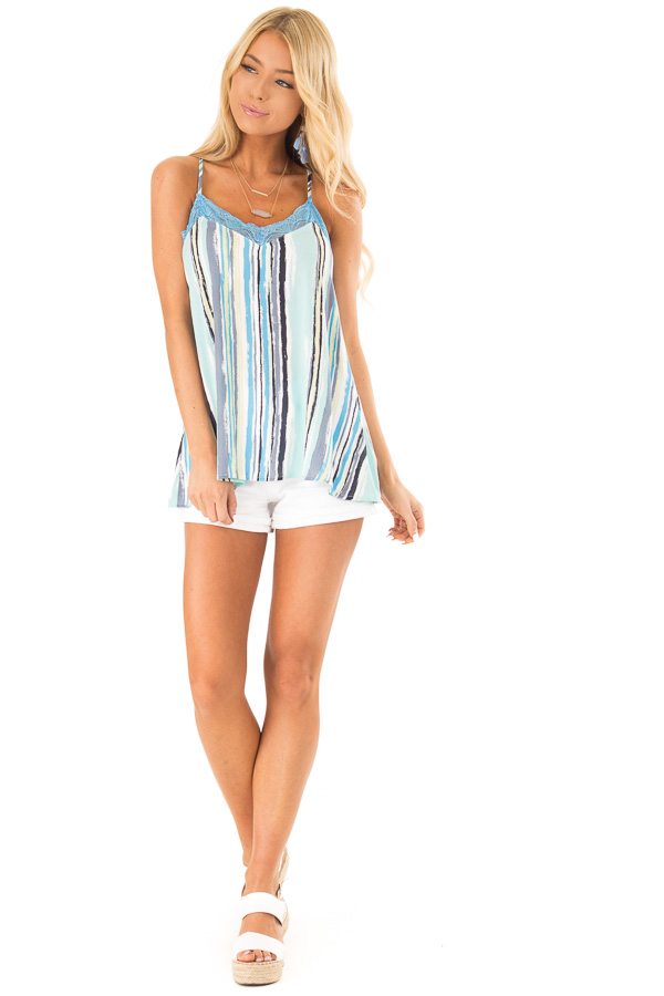 Sky Blue Multicolor Striped Camisole with Lace Trim front full body