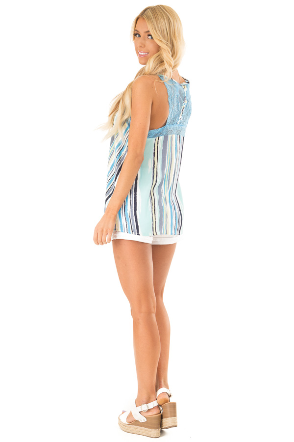 Sky Blue Multicolor Striped Camisole with Lace Trim side full body