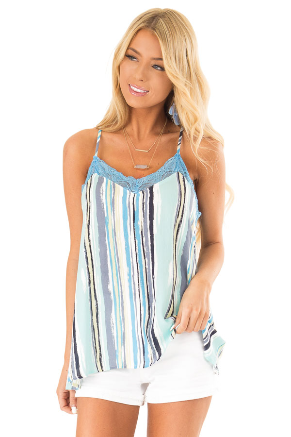 Sky Blue Multicolor Striped Camisole with Lace Trim front close up