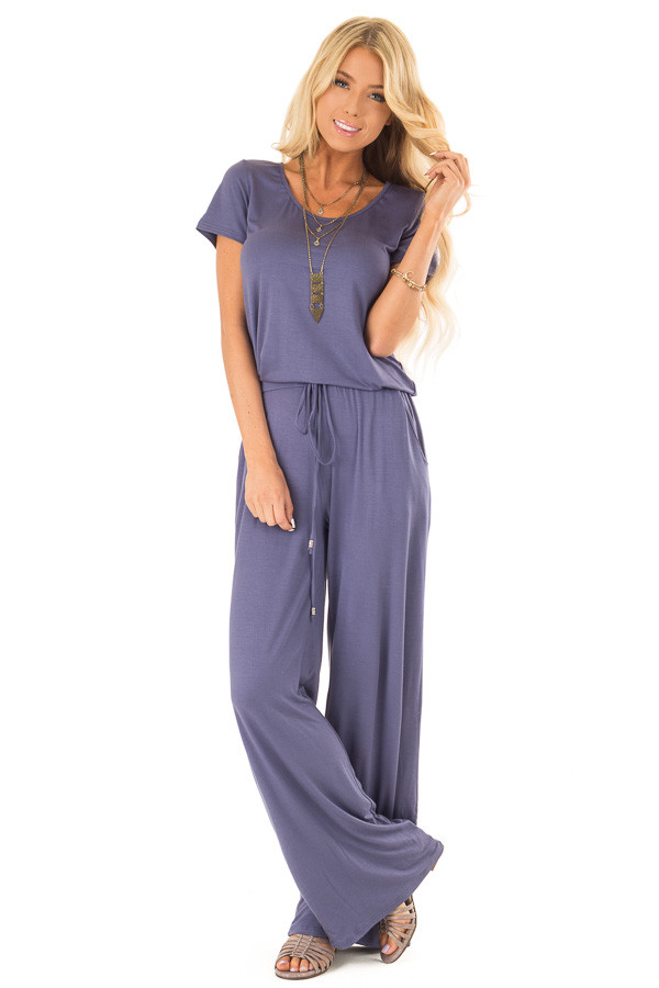 Steel Blue Short Sleeve Jumpsuit with Side Pockets and Tie front full body