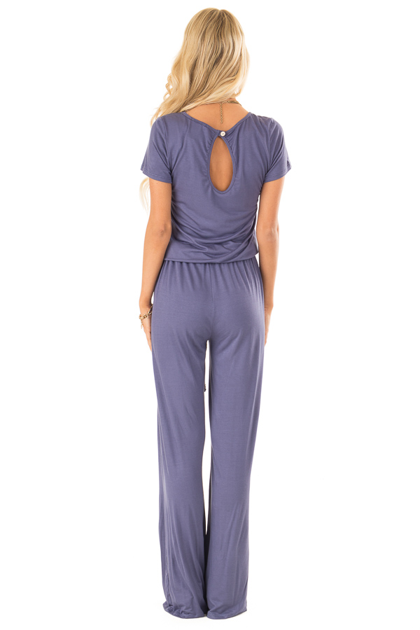 Steel Blue Short Sleeve Jumpsuit with Side Pockets and Tie back full body