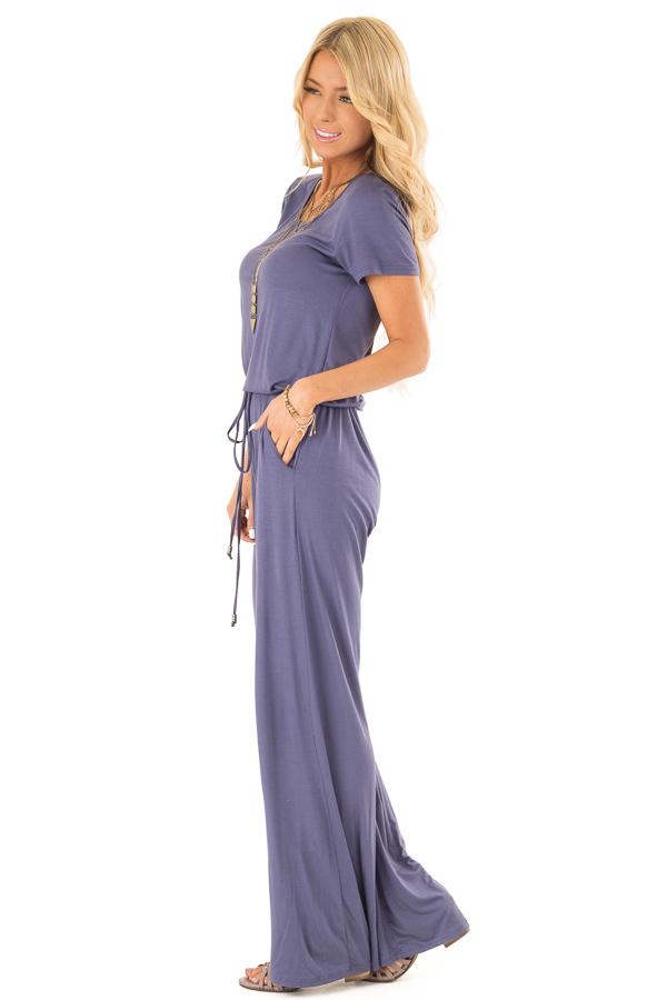 Steel Blue Short Sleeve Jumpsuit with Side Pockets and Tie side full body