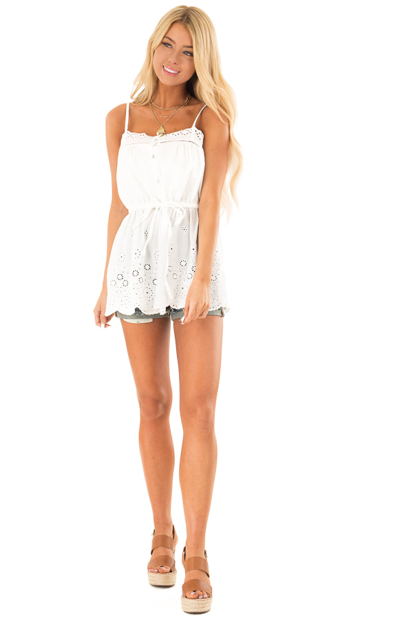 Daisy White Tank Blouse with Sheer Eyelet Lace Detail front full body