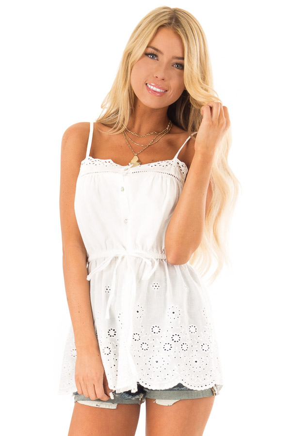 Daisy White Tank Blouse with Sheer Eyelet Lace Detail front close up