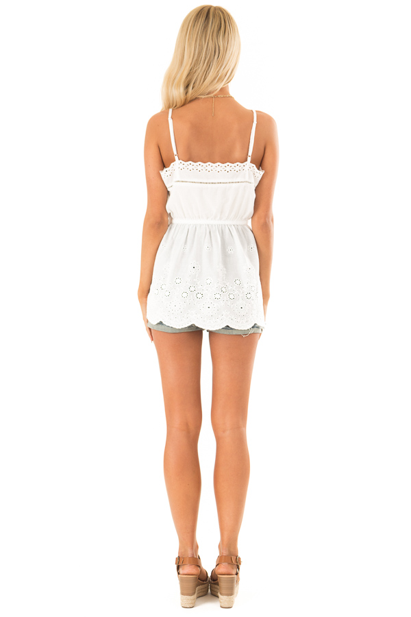 Daisy White Tank Blouse with Sheer Eyelet Lace Detail back full body