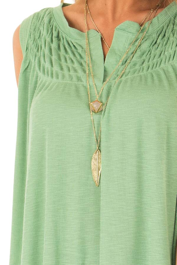 Jungle Green Flowy Sleeveless Top with Loose Smocked Detail detail