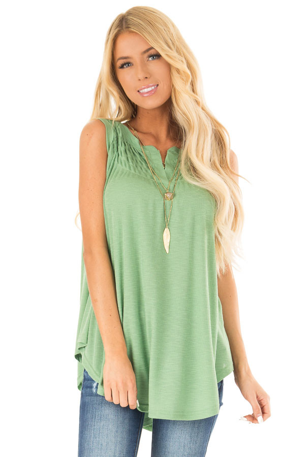 Jungle Green Flowy Sleeveless Top with Loose Smocked Detail front close up