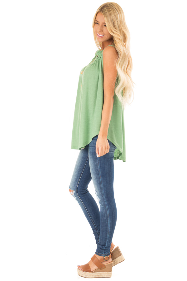 Jungle Green Flowy Sleeveless Top with Loose Smocked Detail side full body