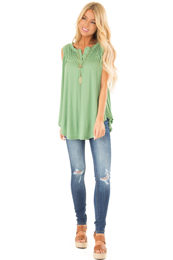 Jungle Green Flowy Sleeveless Top with Loose Smocked Detail front full body