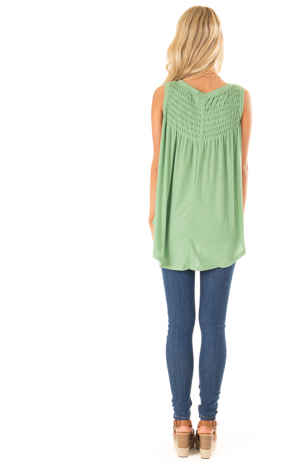 Jungle Green Flowy Sleeveless Top with Loose Smocked Detail back full body