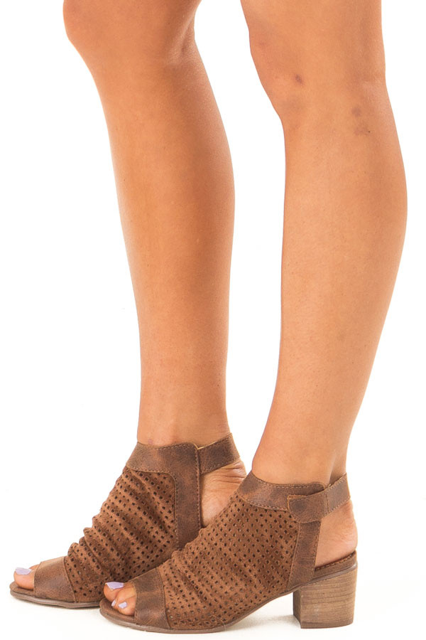 Coffee Faux Suede Perforated Open Toe Heeled Sandal side view