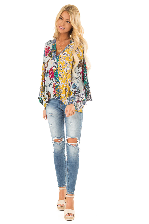 Dusty Blue Floral Print Surplice Top with Ruffle Detail front full body