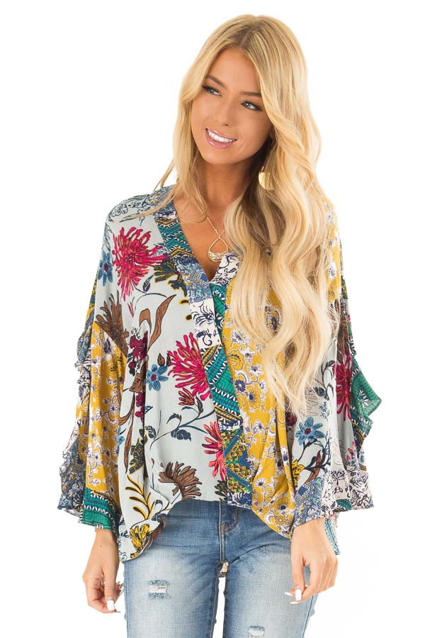 Dusty Blue Floral Print Surplice Top with Ruffle Detail front close up