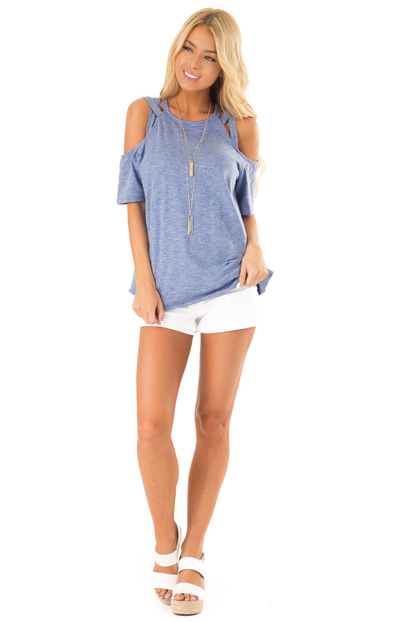 Cornflower Short Sleeve Top with Criss Cross Cold Shoulders front full body