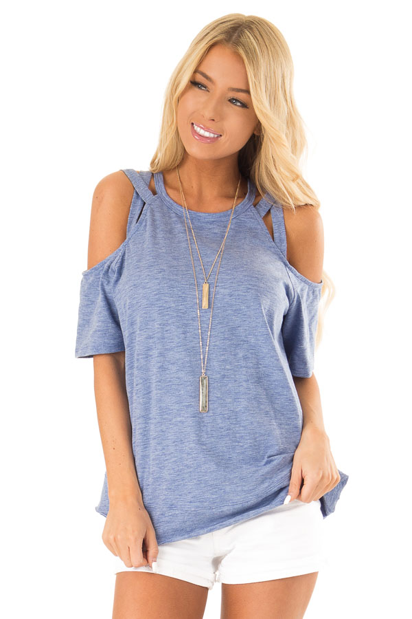 Cornflower Short Sleeve Top with Criss Cross Cold Shoulders front close up