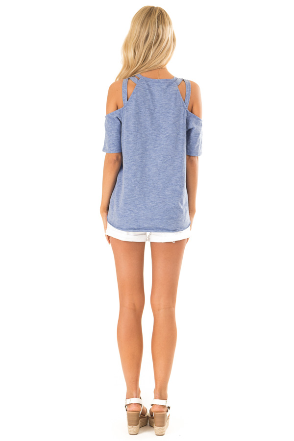 Cornflower Short Sleeve Top with Criss Cross Cold Shoulders back full body