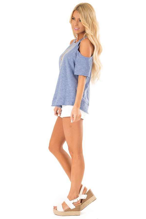 Cornflower Short Sleeve Top with Criss Cross Cold Shoulders side full body