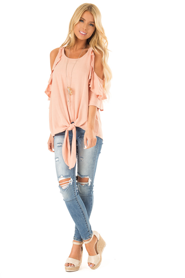 Dusty Blush Cold Shoulder Top with Ruffle Detail front full body