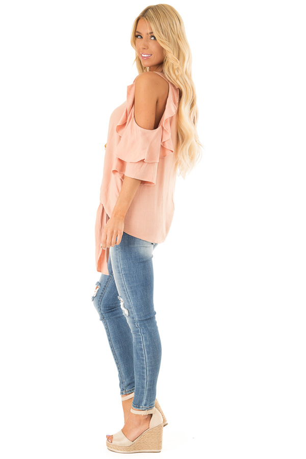 Dusty Blush Cold Shoulder Top with Ruffle Detail side full body