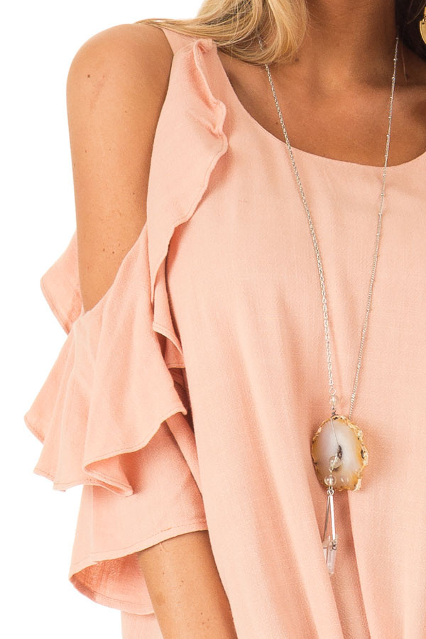 Dusty Blush Cold Shoulder Top with Ruffle Detail detail