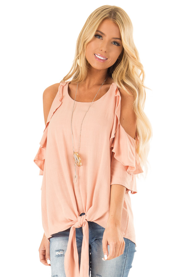 Dusty Blush Cold Shoulder Top with Ruffle Detail front close up