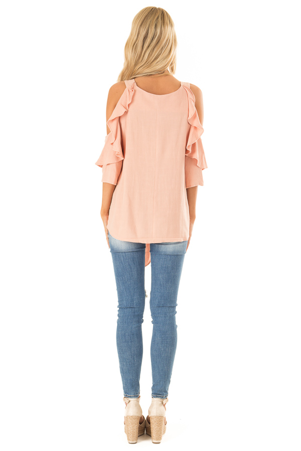 Dusty Blush Cold Shoulder Top with Ruffle Detail back full body
