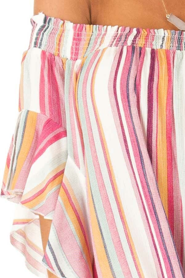 Multicolor Striped Off the Shoulder Top with Front Tie detail