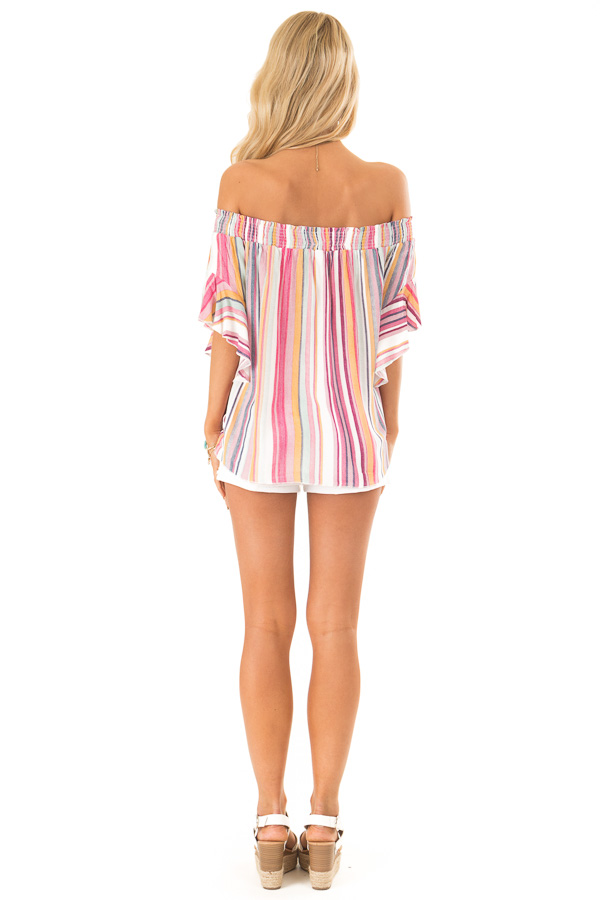 Multicolor Striped Off the Shoulder Top with Front Tie back full body