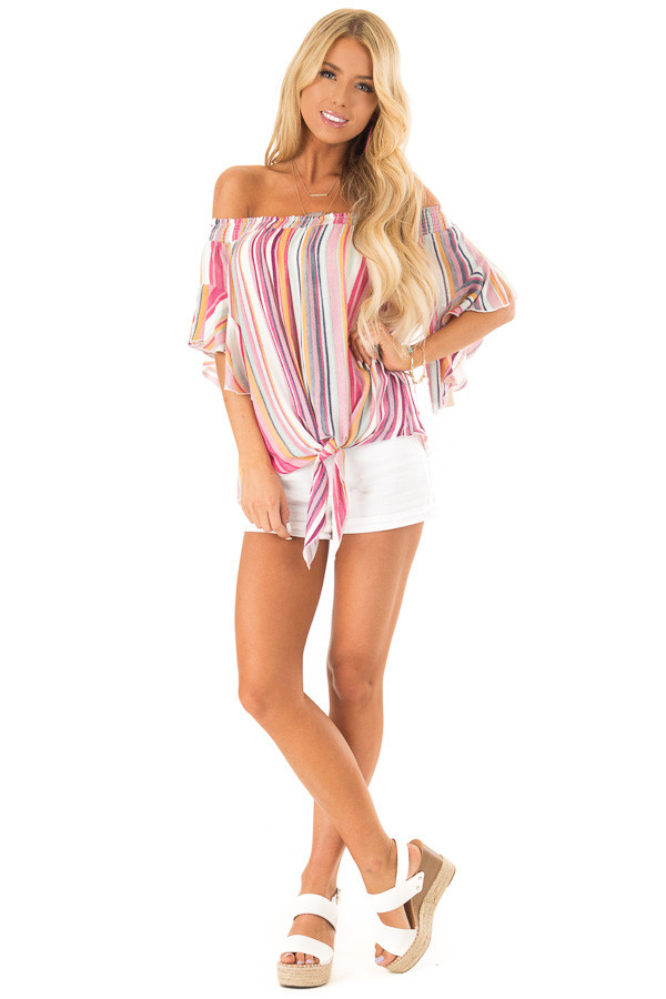 Multicolor Striped Off the Shoulder Top with Front Tie front full body