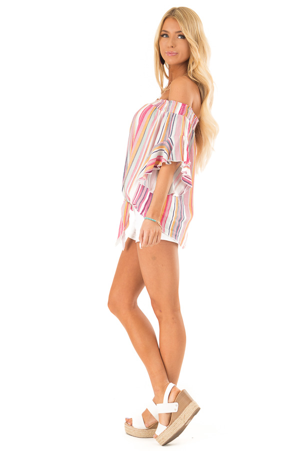 Multicolor Striped Off the Shoulder Top with Front Tie side full body