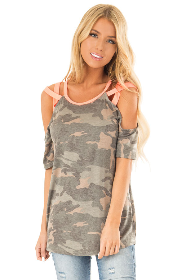 Camo Print and Neon Pink Cold Shoulder Short Sleeve Top front close up
