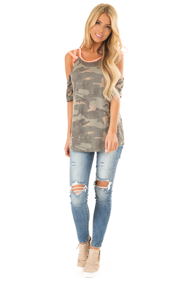 Camo Print and Neon Pink Cold Shoulder Short Sleeve Top front full body