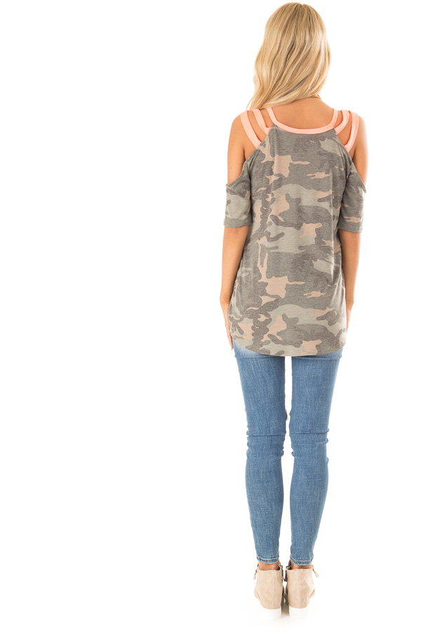 Camo Print and Neon Pink Cold Shoulder Short Sleeve Top back full body
