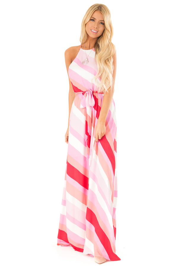 Flamingo Pink Striped Maxi Dress with Front Tie Detail front full body