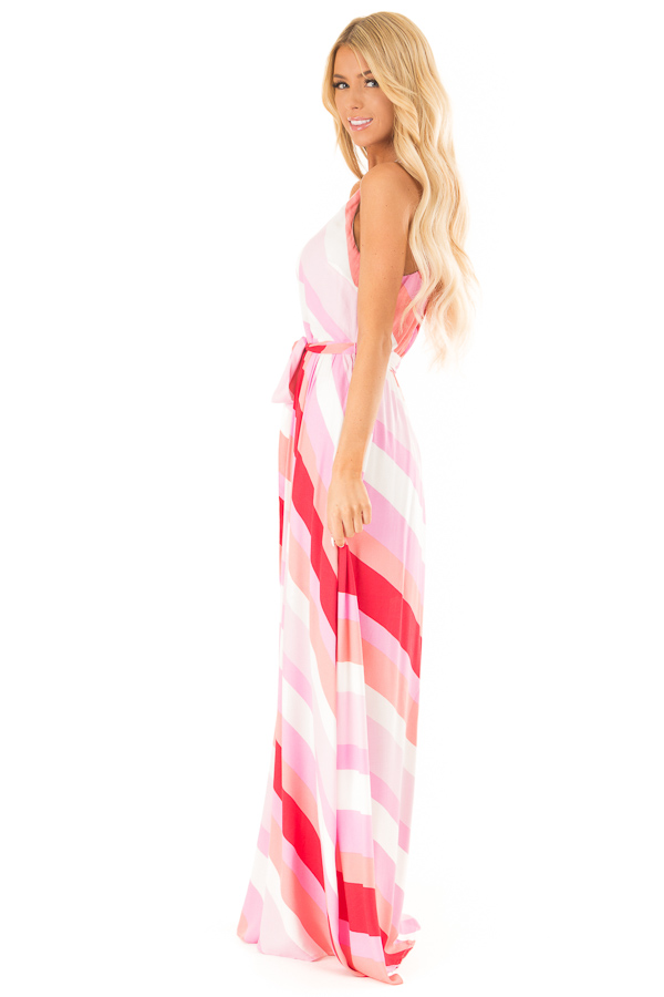Flamingo Pink Striped Maxi Dress with Front Tie Detail side full body